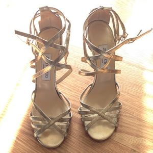 Jimmy choo heels size 8 color gold 4 inch heel